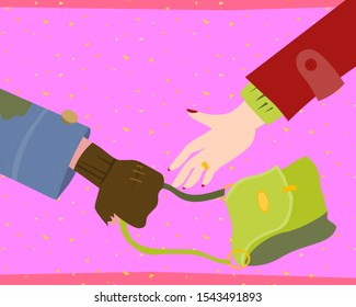 Hobo's hand pulls purse out of woman 's hand vector cartoon