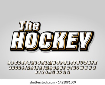 hockey alphabet letters and number. modern font style. strong with the shadow. vector illustration