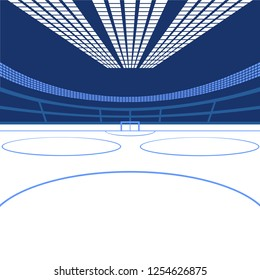 hockey arena. Color image in blue colors. vector eps 10