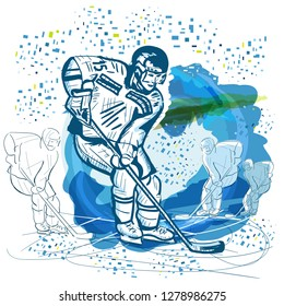 Hockey background. Watercolor. Winter sports. Poster Hockey.