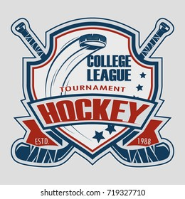 Hockey Badge Logo Design, emblem team tournament template, vector