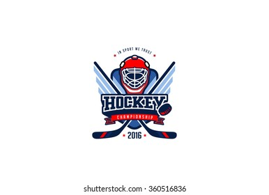 Hockey Badge Logo Design vector template. T-shirt Graphics Sport Team Identity Logotype Illustration Label isolated on white Background.