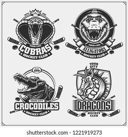 Hockey badges, labels and design elements. Sport club emblems with cobra, dragon and crocodile.