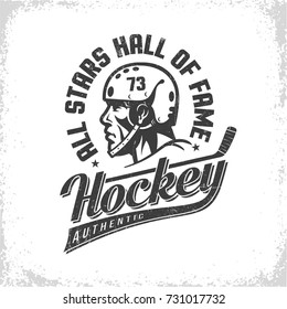 Hockey black and white retro logo with player in helmet side view, stick and inscriptions. Worn texture on  separate layer and can be easily disabled.
