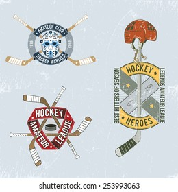 Hockey colored emblem, logo for team, club, on the ice in grungy vintage style. Scratches can be easily removed.