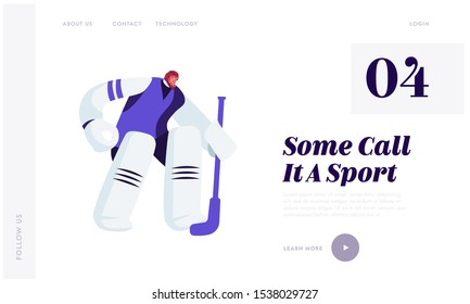 Hockey Competition Website Landing Page. Goalkeeper in Sports Equipment Catch Puck Standing at Defend Attacked Gate. Male Character Engage Sport Game Web Page Banner. Cartoon Flat Vector Illustration