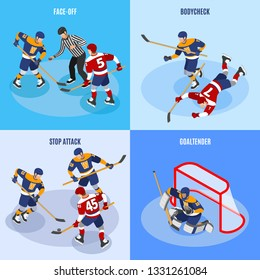 Hockey concept 4 isometric compositions with defense players stopping forward attack face off and goaltender vector illustration