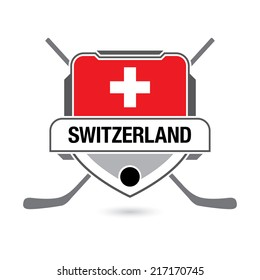A hockey crest design featuring the flag of Switzerland