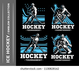 Hockey emblem collections, designs templates on a black background