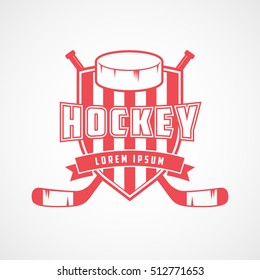 Hockey Emblem Red Flat Icon On White Background