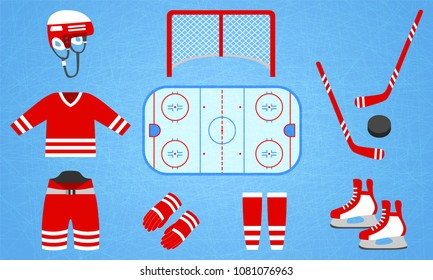Hockey equipment collection. Vector illustration. Isolated icons for winter sports designs. Hockey puck, stick, rink, skates, field, helmet, uniform, pants, gloves, socks, t shirt, gate. red and white
