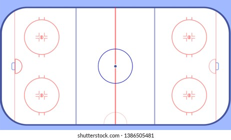 hockey field white.top view with symbols and lines.for playing women's and men's hockey.ice hockey,on the ice. vector image.