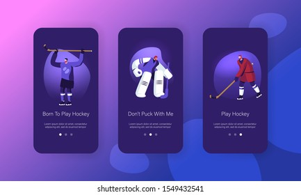 Hockey Game Competition on Ice Rink Mobile App Page Onboard Screen Set. Player Hit Puck, Goalkeeper Protect Gates. Sports Tournament Concept for Website or Web Page. Cartoon Flat Vector Illustration