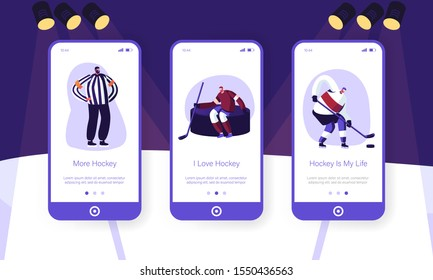 Hockey Game Mobile App Page Onboard Screen Set. Team Holding Sticks Sit at Huge Puck, Referee Judging Game. Sport League Competition Concept for Website or Web Page. Cartoon Flat Vector Illustration