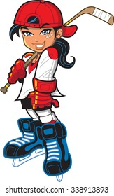 Hockey Girl. Cute pretty tough confident smiling girl female hockey player with hockey stick, attitude and bandage on her face.