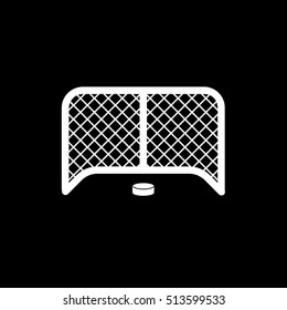 Hockey Goal And Puck Flat Icon On Black Background