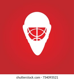 hockey goalie mask over a simple red background