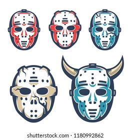 Hockey goalie mask. Retro vintage style vector illustration.