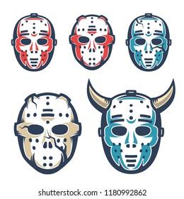 Hockey goalie mask. Retro vintage style vector illustration.