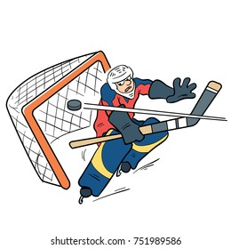 hockey goalie missing a goal