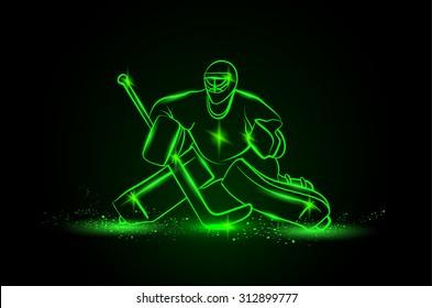 Hockey goalie positioning. Vector neon illustration.