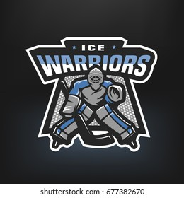 Hockey goalkeeper. Logo, emblem on a dark background.