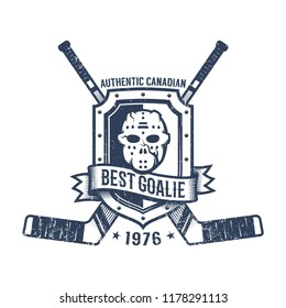 Hockey goalkeeper retro logo - goalie mask, heraldic shield and crossed sticks. Grunge worn texture on a separate layer.