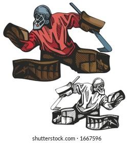 Hockey goalkeeper. Vector illustration