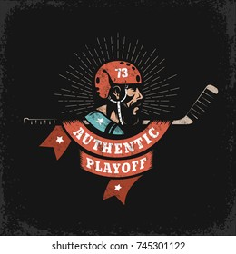 Hockey grunge logo with player, stick and heraldic ribbon on dark background. Worn texture on  separate layer and can be easily disabled.