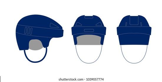 Hockey helmet blue icon. Simple illustration of hockey helmet vector icon for web - side front back