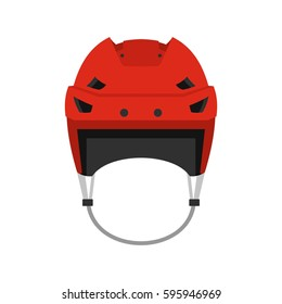 Hockey helmet icon in flat style isolated on white background vector illustration