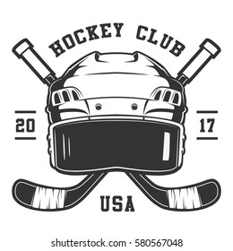 Hockey helmet with sticks on white background. Text is on the separate layer.
