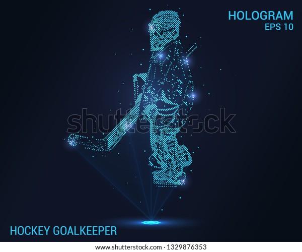 Hockey Hologram Digital Technological Background Hockey Stock Vector