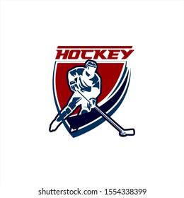 Hockey Ice Team Club Tournament Logo Template Vector