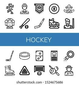 hockey icon set. Collection of Ice skate, Hockey player, Baseball ball, Puck, Hockey stick, Billiard, Ice Ice skating, Air goal, Sticks, Ranger icons