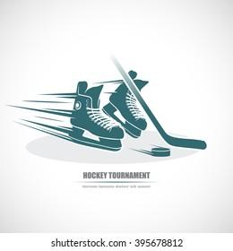 Hockey icon. Skates, hockey stick, puck.