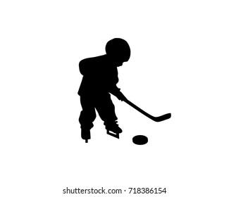 Hockey kids silhouette