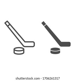 Hockey line and solid icon. Hockey stick and washer symbol illustration isolated on white. Sport ice hockey stick And Puck outline style design, designed for web and app. Eps 10