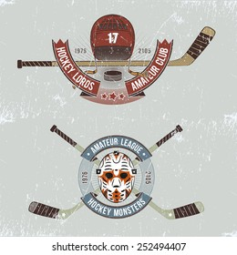 Hockey logo, emblem for team, with sticks, helmet, goalie mask, ribbon and label. Grunge background layer can be easily removed.