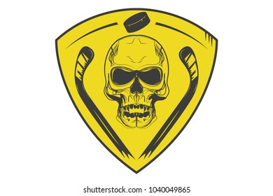 Hockey logo, skull with hockey sticks on the shield. Icon, logo.