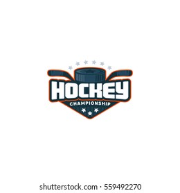 Hockey logo. Sport badge. Vector illustration.