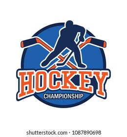 hockey logo with text space for your slogan / tag line, vector illustration