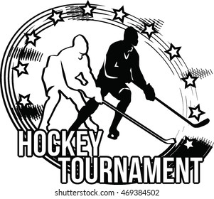 Hockey logo with two players silhouette. Vector image