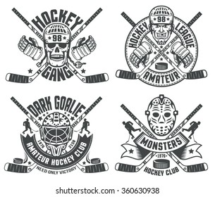 Hockey logos with helmets, goalie masks, sticks, gauntlet. Text grouped separately and can be replaced.