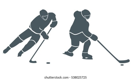 Hockey man flat style design isolated and cross country hockey, winter sport, season and ice, cold downhill, recreation lifestyle, activity speed extreme vector illustration on white