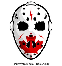 Hockey mask with canadian flag isolated over white