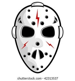 Hockey mask isolated over white square background