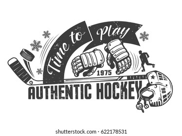 Hockey monochrome concept template with equipment and inscriptions, for poster, print or tattoo. Grunge texture on a separate layer.
