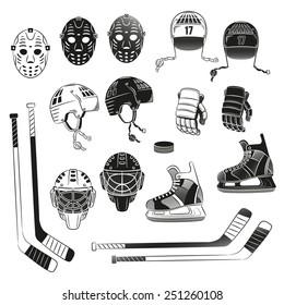 Hockey objects as silhouettes. Helmet, goalie masks, gloves, stick, puck, skating - in monochrome stamp style .