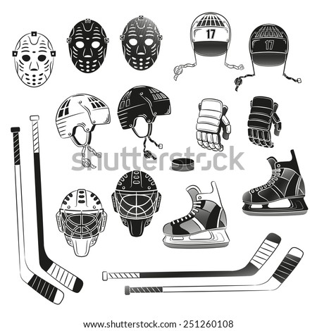 Hockey Objects Silhouettes Helmet Goalie Masks Image Vectorielle De